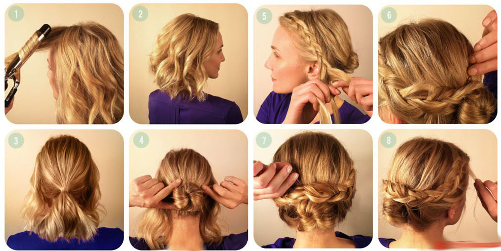 Прически на волосы средней длины с косами