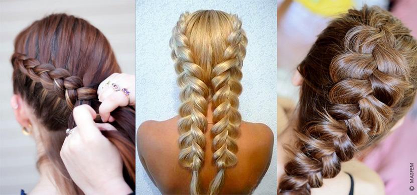 Как плести косу из волос из резинок