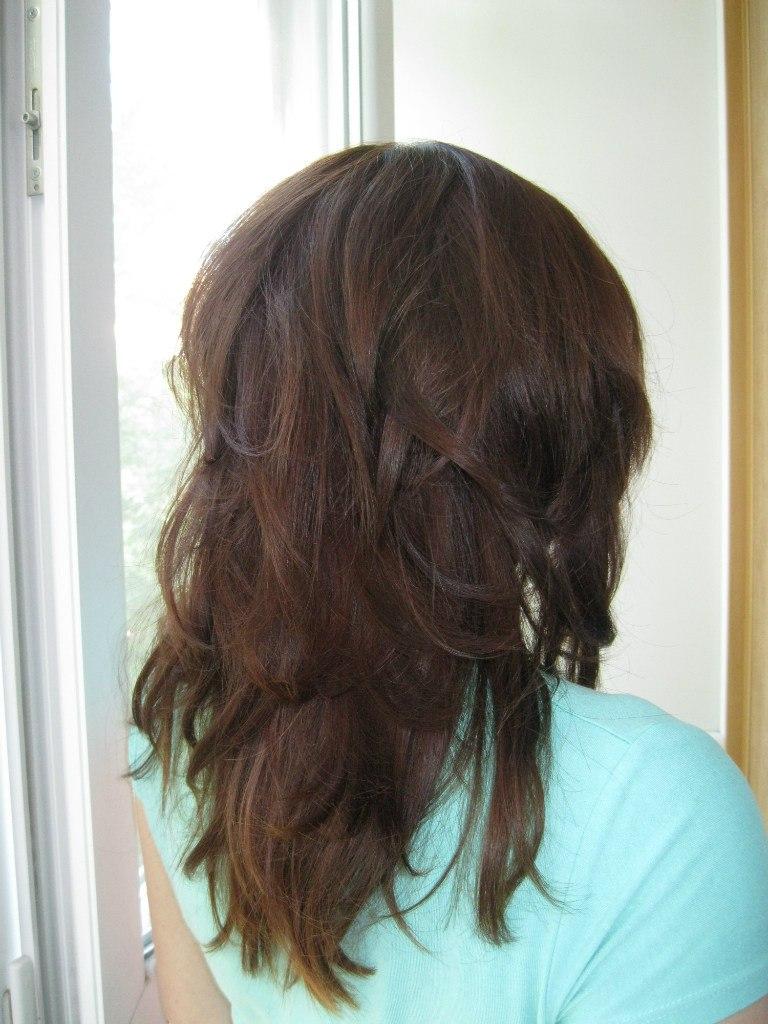 Стрижка рваный каскад на длинные волосы фото сзади