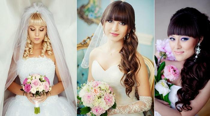 Прически на свадьбу с челкой для подружки
