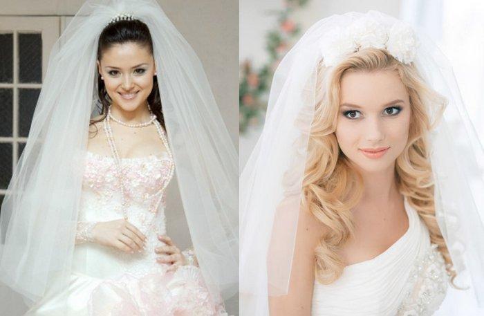 Свадебные прически с одноярусной фатой